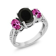 2.83 Ct Oval Black Onyx & Pink Created Sapphire 925 Sterling Silver 3-Stone Ring