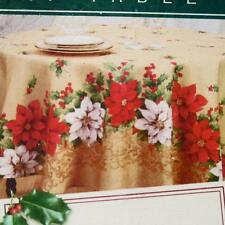 POINSETTIAS & HOLLY FABRIC TABLECLOTH~ALL SIZES~Red/Green/Gold~NEW