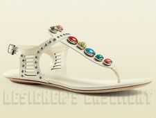 GUCCI white leather LIKA Laser-Cut STONE detail Thong sandals NIB Authentic $850