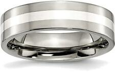 Titanium w/ Sterling Silver Inlay Flat 6mm Polished Band Ring