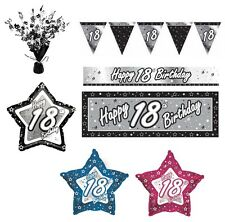 BLACK & SILVER - Age 18 - Happy 18th Birthday PARTY ITEMS Decorations Tableware