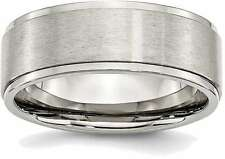 Stainless Steel Ridged Edge 8mm Brushed and Polished Band Ring SR34