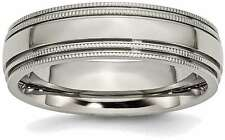 Titanium Grooved and Beaded Edge 6mm Polished Band Ring