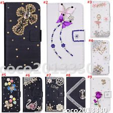 Magnetic Bling Luxury Diamonds Crystal PU Leather wallet flip Stand Cover Case G