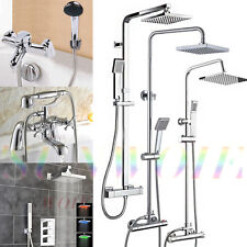 Bath Thermostatic Square Shower Mixer Expose Valve Chrome Hand Held Bathroom Kit