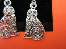 925 Sterling Silver Cat Dangle Earrings