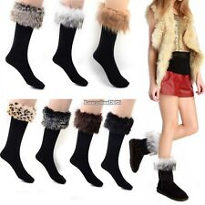 Faux fur Snow Socks Leg Warmer Stocking Fur Cover Cuff Boots Shoes Women ED