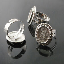 10/50pcs Anti-silver Adjustable Rings Inner Cameo Setting Size 15x10mm