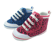 Girls Infant Shoes My First Volleys Hi Top Pink or Blue Leopard 1-6 canvas