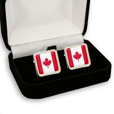 CANADA CANADIAN FLAG MEN'S CUFFLINKS + GIFT BOX  ENGRAVING