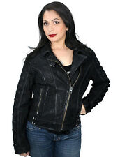 Harley-Davidson Ladies Black Asymmetric Studded Slim Leather Jacket 97901-16VW