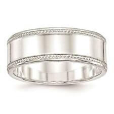 925 Sterling Silver 8mm Edged Design Polished Wedding Ring Band Sizes 6 - 12