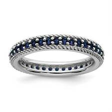 925 Silver Rhodium-Plated Created-Sapphire Eternity Stackable Ring Sz 5 - 10