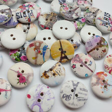 10/50/250pcs Effel Tower Wood Button Sewing Buttons Craft Doll Kid Appliques