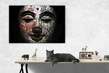 ~ Buddha Picture Abstract Black/Multicol Framed Canvas Print Or Poster Large