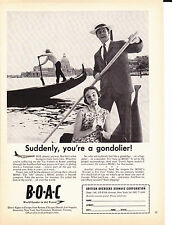 Original Print Ad-1961 B.O.A.C. World Leader In Jet Travel-You're a gondolier!