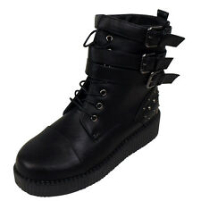 Womens Black Goth Creepers Platform Boots Ladies Brothel Punk Studded Boot Shoes