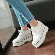 Women's Round Toe Lace Up Platform Wedge Heel Lace Up Pumps Loafers Shoes Size