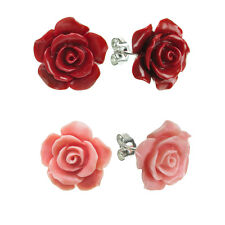 Sterling Silver Simulated Pink / Red Coral Rose Charm Earring Stud Post 15mm