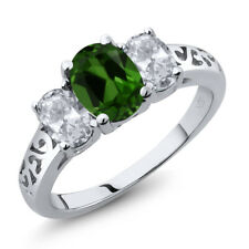 2.20 Ct Oval Green Chrome Diopside White Topaz 925 Sterling Silver Ring