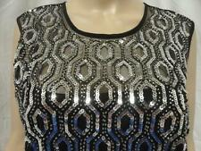 Women's As U Wish Black Sleeveless Sequence Illusion Top Dress Size: 3, 11 (NWT)
