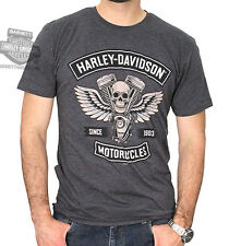 Harley-Davidson Mens Winged Engine Skull Charcoal Short Sleeve T-Shirt