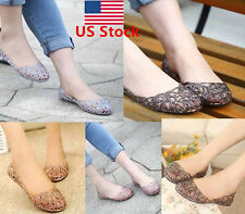 Women Casual Beach Ballet Soft Rubber Slip On Crystal Glitter Thin Flat Shoes