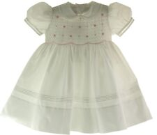 Feltman Brothers Girls White & Pink Smocked Portrait Dress