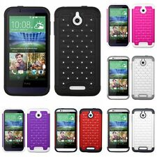 For HTC Desire 510 512 Rhinestone Rugged Armor Bling Case Phone Cover