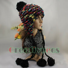 Women Fashion Beanies Winter Wool Knit Colorful Baggy Earflap Hat 5 Pom Ski Cap