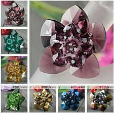 Women Jewelry Flower Faceted Crystal Glass Beads Cocktail Finger Ring Adjustable