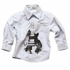WES & WILLY Boutique boys GUITAR Chambray Button Down Shirt 6 NWT