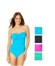 Anne Cole Twist-Front Bandeau One-Piece Strapless Swimsuit Choose Color/Sz 8-14