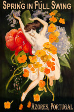 AZORES PORTUGAL SPRING IN FULL SWING GIRL DANCING FLOWERS VINTAGE POSTER REPRO