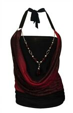 Plus size Glitter print Necklace accented O-ring Top Red