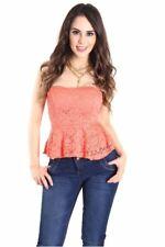 121AVENUE Gorgeous Lace Ruched Bottom Top S M L Small Medium Large Women Pink