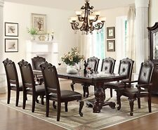 """NEW KIERA 108"""" FORMAL CHERRY FINISH CARVED WOOD LEATHER DINING ROOM TABLE SET"""