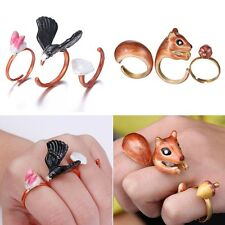 3Pcs/Set Charms Unisex Gold Finger Rings Cute Animals Jewelry Gift Adjustable