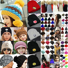Newest Women Men Beret Winter Warm Baggy Beanie Knit Crochet Hat Slouch Ski Cap