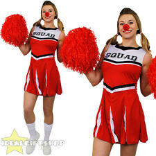 LADIES RED NOSE DAY CHEERLEADER FANCY DRESS COSTUME COMIC RELIEF WOMENS OUTFIT
