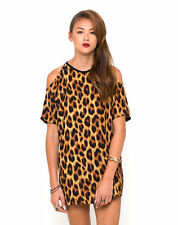 MOTEL ROCKS Savannah Cold Shoulder Dress in Original Animal  (mr32)