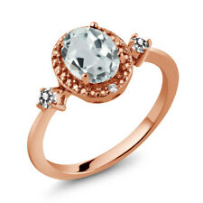 1.24 Ct Oval Sky Blue Aquamarine White Diamond 18K Rose Gold Plated Silver Ring