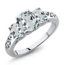 1.96 Ct Oval Sky Blue Aquamarine 925 Sterling Silver Ring