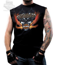 Harley-Davidson Mens V-Twin Hell Skull Flames Black Sleeveless Muscle T-Shirt