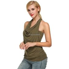 Zeagoo Women Cowl Neck Backless Solid Ruched Twinset Tank Tops ED01
