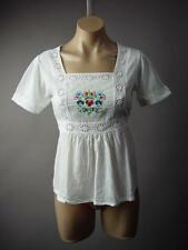 White Eyelet Square Neck Folk Embroidery Mexican Peasant Top 220 mv Blouse S M L