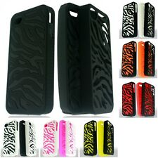 For Apple iPhone 4/4S Phone Case ZEBRA Hybrid 2-Piece Hard Soft Cover