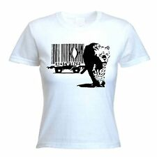 BANKSY BARCODE LEOPARD WOMENS T-SHIRT - Choice of Colours - Sizes S to XL