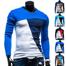 Style Men Slim Fit Cotton V-Neck Long Sleeve Casual Shirt Tee Shirt Tops Blouse