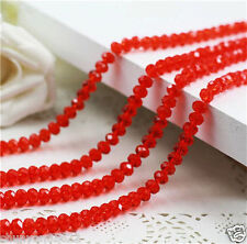 Red Jewelry Faceted 98pcs 4*6mm Rondelle Glass Crystal Beads